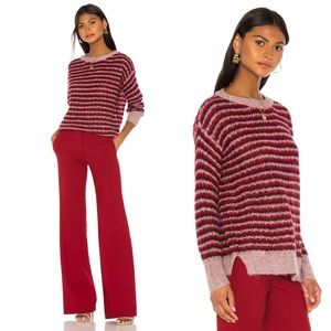 Theory Sweaters - Theory Alpaca Striped Pullover Red